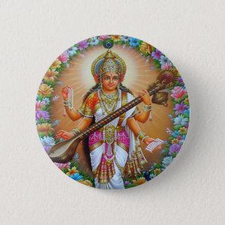 女神Saraswati 5.7cm 丸型バッジ