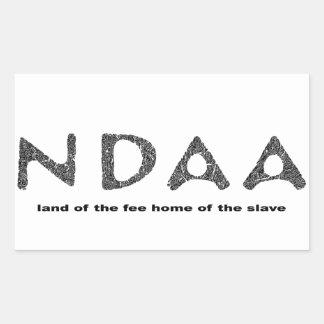 奴隷の料金の家のNDAAの土地 長方形シール