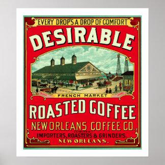 好ましくフランスのな市場によって焼かれるコーヒー ポスター