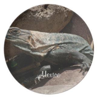 好奇心が強いイグアナ; メキシコの記念品 プレート