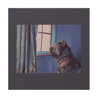 好奇心が強いイヌ科動物 ウッドウォールアート