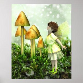 好奇心が強い妖精-妖精およびToadstoolsポスター ポスター