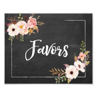 好意の素朴な黒板の花の結婚式の印 フォトプリント
