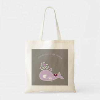妊娠した紫色のお母さんのクジラの女の子のベビーシャワーのバッグ トートバッグ