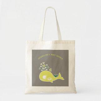 妊娠した緑のお母さんのクジラのベビーシャワーのギフトバッグ トートバッグ