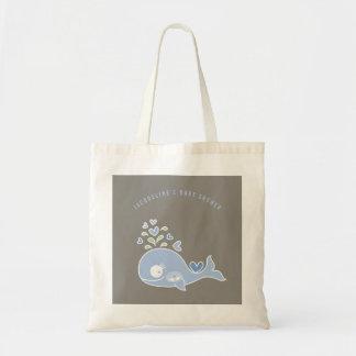 妊娠した青いお母さんのクジラの男の子のベビーシャワーのギフトバッグ トートバッグ