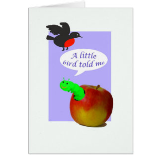 妊娠のニュース、鳥および幼虫およびりんご カード
