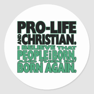 """""""妊娠中絶反対およびキリスト教の""""ステッカー ラウンドシール"""