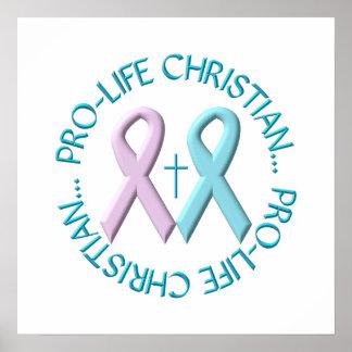 妊娠中絶反対のクリスチャンw/Cross及びピンクかブルーリボン ポスター