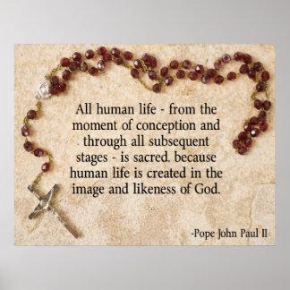 妊娠中絶反対ヨハネ・パウロ法皇 ポスター