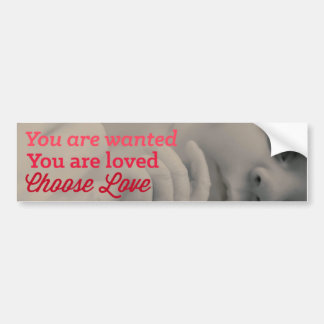 妊娠中絶反対愛を選んで下さい バンパーステッカー