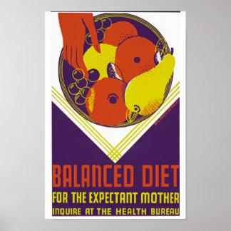 妊婦のためのバランスの取れた食事 ポスター