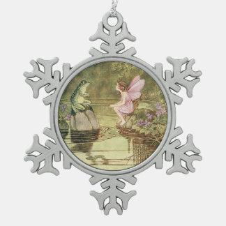 妖精およびカエルのヴィンテージのイメージの雪片のオーナメント スノーフレークピューターオーナメント
