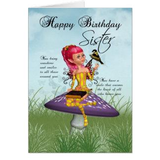 妖精およびズアオアトリが付いている姉妹のバースデー・カード カード