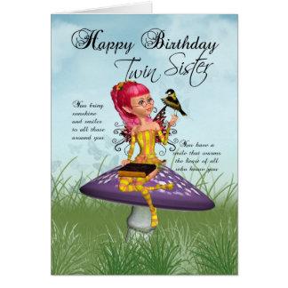 妖精およびズアオアトリが付いている対の姉妹のバースデー・カード カード