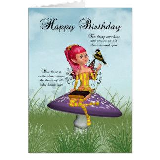 妖精およびズアオアトリ-ファンタジーAが付いているバースデー・カード カード