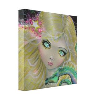 妖精およびドラゴンの大きい目のバックラムのプリント キャンバスプリント