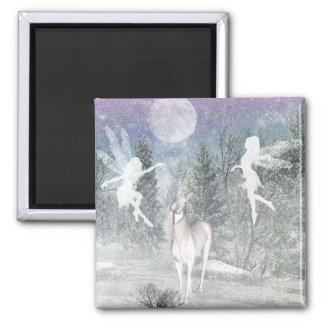 妖精およびユニコーンの冬の磁石 マグネット