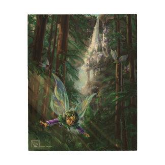 妖精および城 ウッドウォールアート
