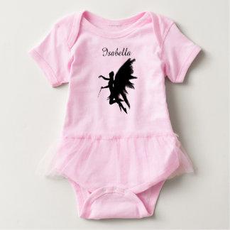 妖精が付いている名前入りなピンクのベビーのチュチュ ベビーボディスーツ
