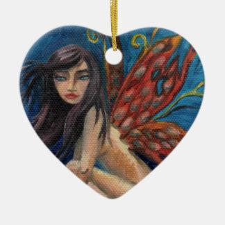 妖精のオーナメントの妖精の国のオーナメントの蝶オーナメント 陶器製ハート型オーナメント