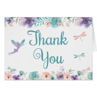 妖精のトンボの花柄はカードを感謝していしています カード