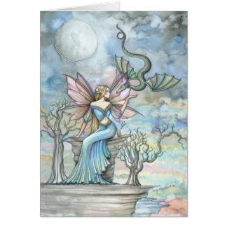 妖精のドラゴンの挨拶状を越える土地 グリーティングカード