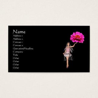 妖精のピンクの《植物》百日草の花のファンタジーの名刺 名刺