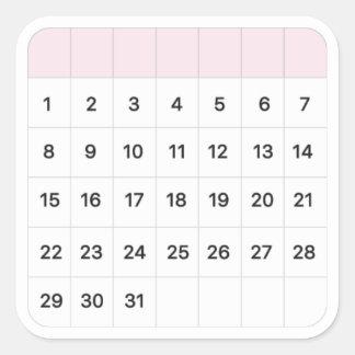妖精のフロスの月例カレンダー スクエアシール
