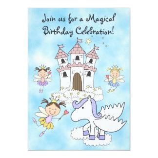妖精のプリンセス、城およびペガソスの誕生日の招待 カード
