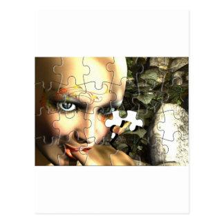 妖精のプロフィールのジグソーパズル ポストカード