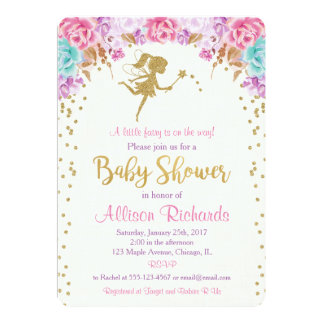妖精のベビーシャワーの招待のピンクおよび金ゴールド カード