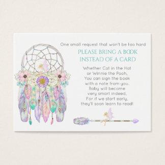 妖精の夢のキャッチャーのベビーシャワーの本の要求 名刺