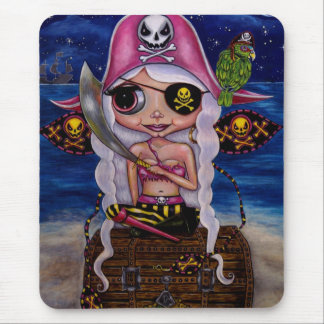 妖精の女の子の海賊目パッチのオウムのかわいい人形 マウスパッド
