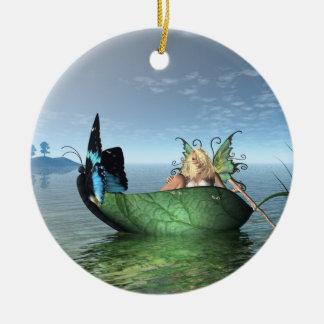 妖精の蝶ボート セラミックオーナメント