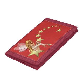 妖精の金ゴールドの星の三重ナイロン財布