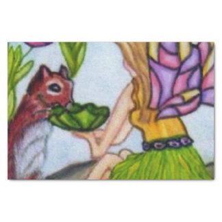 妖精はリスのステンドグラスの翼を残します 薄葉紙
