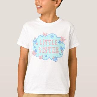 妹の花の蝶青いデザインのワイシャツ Tシャツ