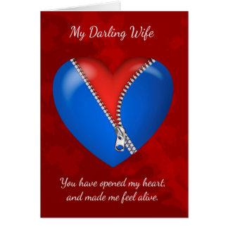 妻は、ジッパーが付いているモダンなバレンタインデーカード聞きます カード
