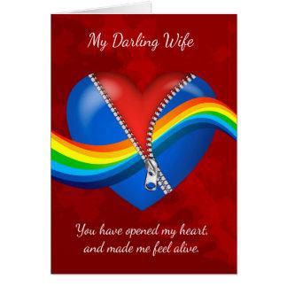 妻、レズビアン、ジッパーが付いているバレンタインデーカード彼 カード