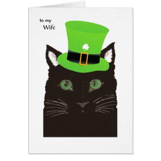 妻-黒猫の緑の帽子のためのパトリキウスの日 カード