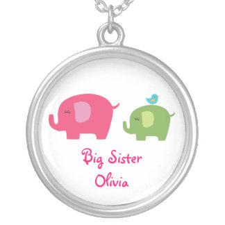 姉かわいい象のネックレス シルバープレートネックレス