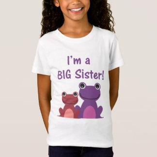 姉のカエルの兄弟姉妹T (紫色かピンク) Tシャツ