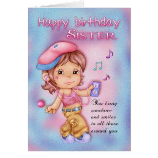 姉妹のバースデー・カード-音楽のかわいい女の子 カード