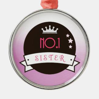 姉妹のピンクの黒、no.1のベスト メタルオーナメント
