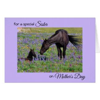 姉妹のロバ及び子馬の写真のノートのための母の日 カード
