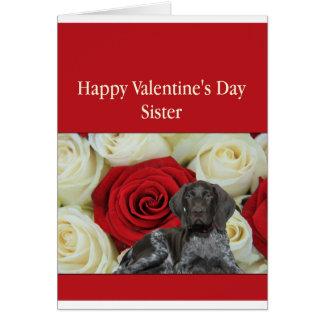 姉妹の光沢のあるハイイログマのバレンタインの初恋 カード