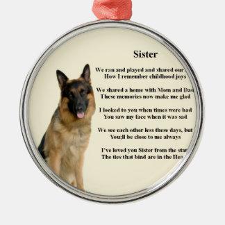 姉妹の詩-ジャーマン・シェパード犬 メタルオーナメント