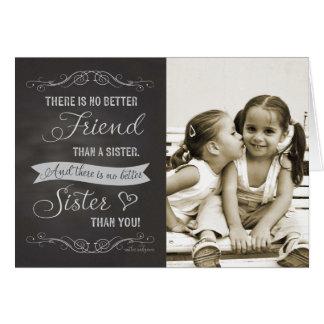 姉妹の誕生日-黒板のカスタムの写真 カード