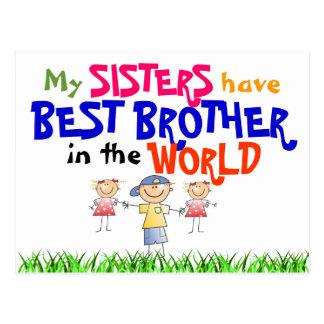 姉妹は最も最高のな兄弟の郵便はがきを持っています ポストカード